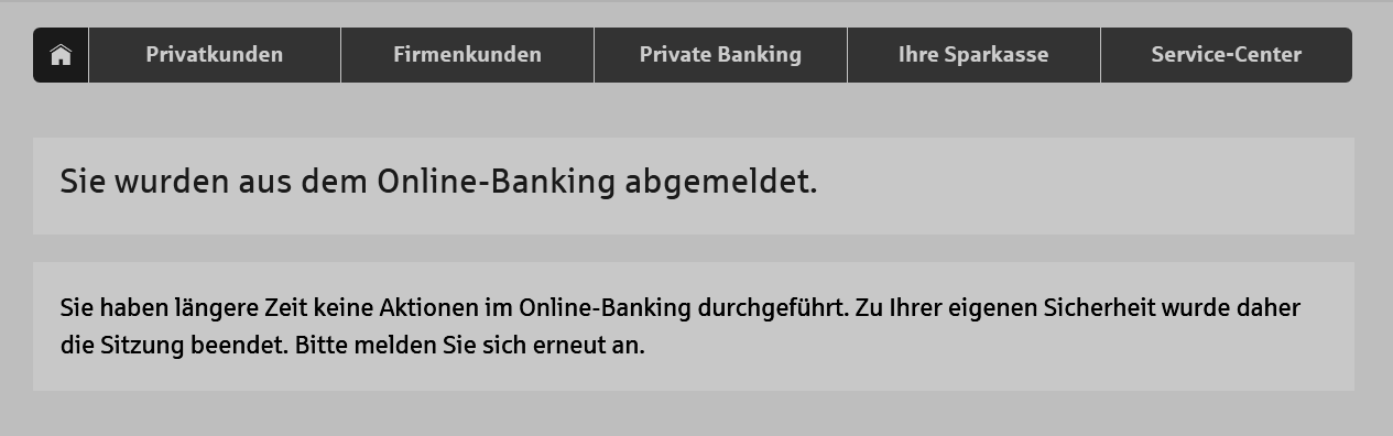 Standard Logout Message (Berliner Sparkasse)
